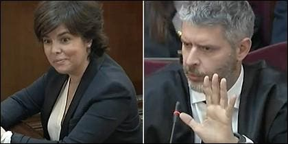 Soraya Sáenz se sonríe ante un desquiciado abogado de Junqueras.