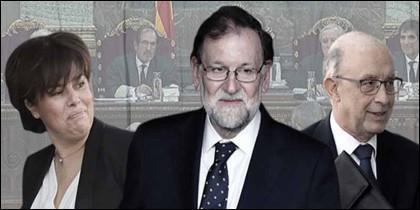 Soraya Sáenz de Santamaría, Mariano Rajoy y Cristobal Montoro.