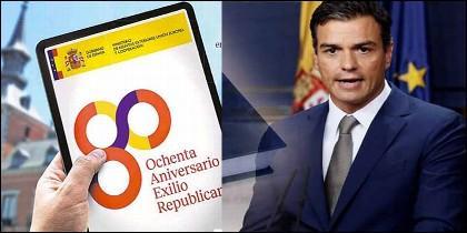 Pedro Sánchez y el logo con los colores de la república española.