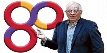 El ministro Josep Borrell y el logo de la república en el Ministerio de Exteriores.