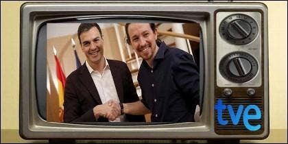 La TVE de Pedro Sánchez y Pablo Iglesias.