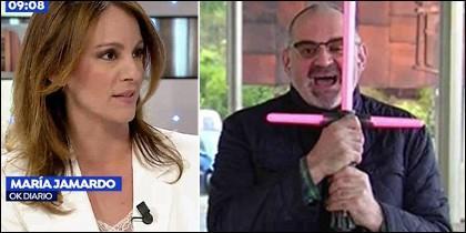María Jamardo y el friki Antón Losada con una espada láser.
