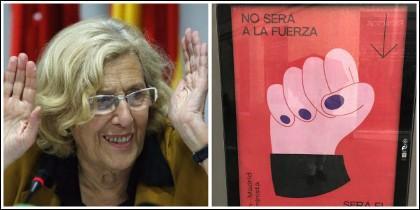 Manuela Carmena y el cartel publicitario del Día de la Mujer