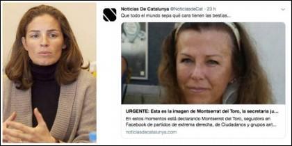 Nathalie Picquot y una de las cuentas en la que ponen en la diana a la secretaria judicial Montserrat del Toro.