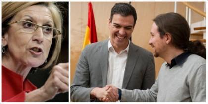 Rosa Díez poniendo a caldo a Pedro Sánchez y a Pablo Iglesias.