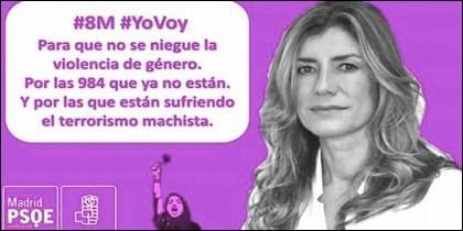 Cartel del PSOE con la cara de Begoña Gómez en la huelga feminista del 8M.