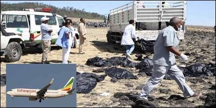 Víctimas del accidente del avión Boeing 737 de Ethiopian Airlines.