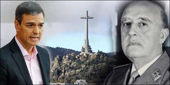Pedro Sánchez, el Valle de los Caídos y Francisco Franco.