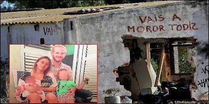María Gombau, Gabriel Salvador Carvajal, sus hijos asesinados y la casa donde vivían.