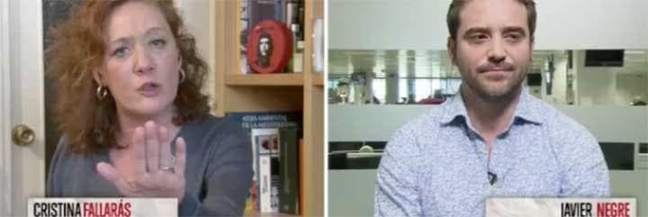Cristina Fallarás hace el saludo fascista a Javier Negre.