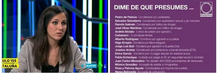 Ione Belarra y la lista de podemitas condenados.
