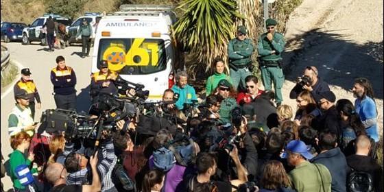 Una nube de medios, durante el rescate del pequeño Julen.