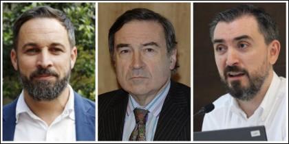Santiago Abascal, Pedrojota e Ignacio Escolar.