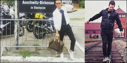 Internautas haciendose fotos frívolas en Auschwitz.
