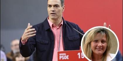 Pedro Sánchez y (en el círculo) Eva Maldonado.
