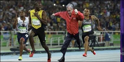 Sebastián Piñera y Usain Bolt