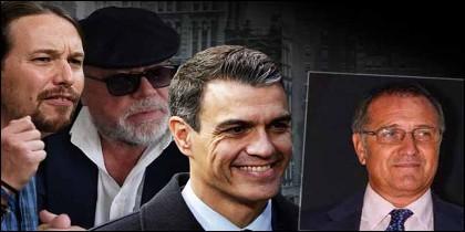 Pablo Iglesias, Pepe Villarejo, Pedro Sánchez y Alberto Pozas.
