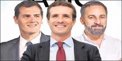 Albert Rivera (CS), Pablo Casado (PP) y Santiago Abascal (VOX).