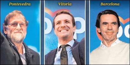 PP: Rajoy, Casado y Aznar.