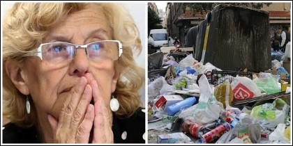 Manuela Carmena y un contenedor que rebosa de basura en Madrid