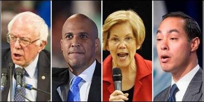 Cnadidatos presidenciales: Bernie Sanders, Cory Booker, Elizabeth Warren y Julian Castro.