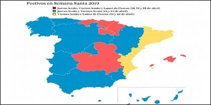 España: Festivos Semana Santa 2019.