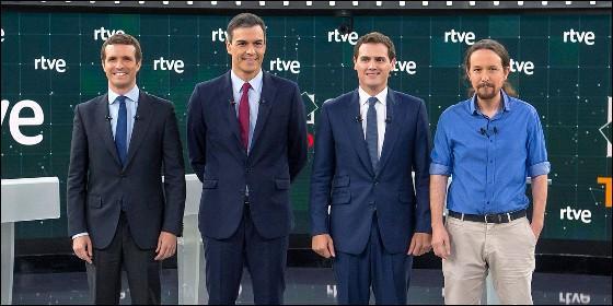 Líderes de los cuatro partidos en el Debate a cuatro TVE