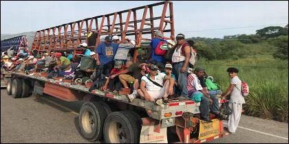 Hispanos: Migrantes centroamericanos en México, camino de EEUU.