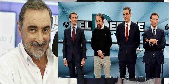 Carlos Herrera y los cuatro candidatos en el debate de Atresmedia.