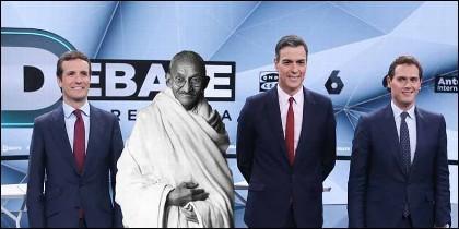 Debate electoral 2019: un meme sobre Iglesias, con Casado, Rivera y Sánchez.