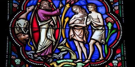 Adán, Eva, el pecado original y la expulsión del paraíso.