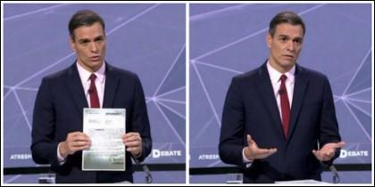 Pedro Sánchez durante el debate de Atresmedia.
