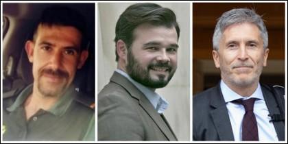 Luis Corujo, Gabriel Rufián y Fernando Grande-Marlaska.