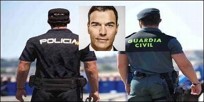 Policía Nacuional, Guardia Cicil y Pedro Sánchez (PSOE).