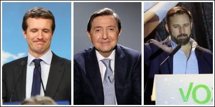Pablo Casado, Federico Jiménez Losantos y Santiago Abascal.