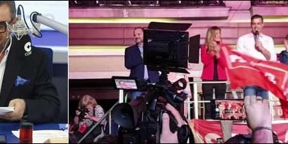 Carlos Herrera y los simpatizantes del PSOE en Ferraz.