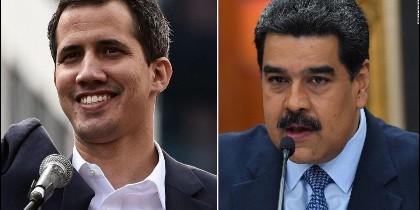 El presidente encargado, Juan Guaidó, y el dictador Nicolás Maduro.