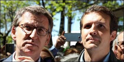 Alberto Núñez Feijóo y Pablo Casado (PP).