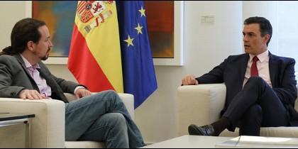 Pablo Iglesias y Pedro Sánchez en La Moncloa.