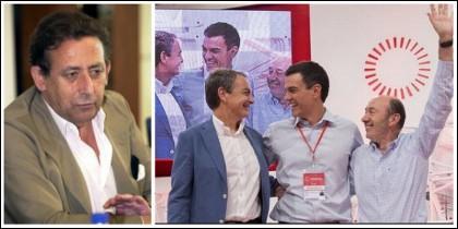 Alfonso Ussía y Rubalcaba, a la derecha, con los insustanciales Sánchez y Zapatero.