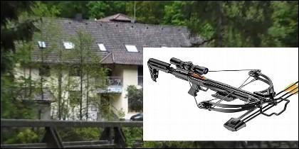 El hotel alemán donde han aparecido tres personas asesinadas con flechas de ballesta.