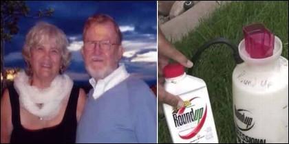 Alva y Alberta Pilliod, con el herbicida de Monsanto.