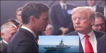 Pedro Sánchez, Donald Trump y la fragata Méndez Núñez.