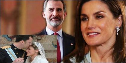 El Rey Felipe VI y la Reina Letizia, ahora y en su boda.
