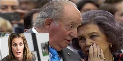 La Reina Letizia y los Reyes Juan Carlos y Sofía.