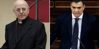 El cardenal Bázquez y Pedro Sánchez.