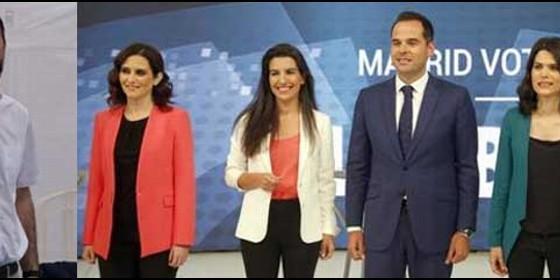 Ignacio Escolar; y los cinco candidatos del debate de Telemadrid.