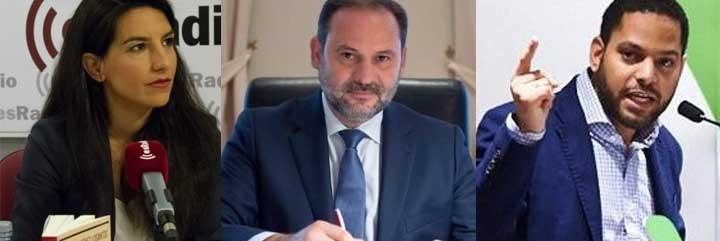 Rocío Monasterio, el socialista José Luis Ábalos y el diputado de VOX Ignacio Garriga.