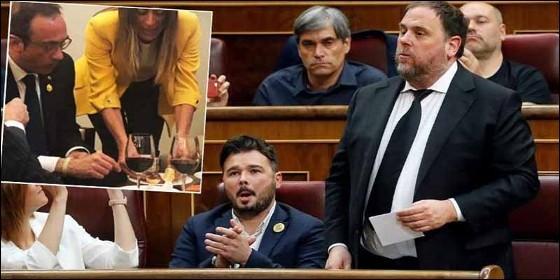 El desayuno que se zamparon en el Congreso Oriol Junqueras, Josep Rull, Jordi Turull y Jordi Sànchez, los presos del 'procés'.