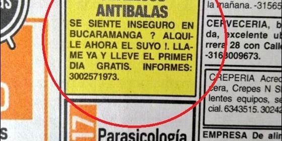 Anuncio de alquiler de chalecos antibalas